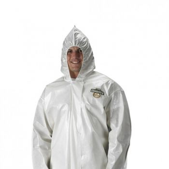Lakeland ChemMax 2 Coverall  Bound Seam  Attached Hood White 12/Case