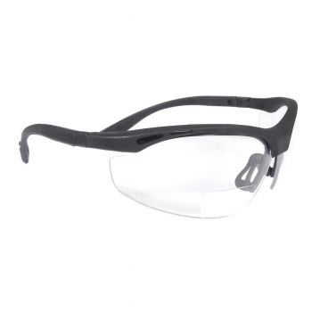 Radians Cheaters - Clear 2.5 bi-focal Safety Glasses Half Frame Style Black Color - 12 Pairs / Box