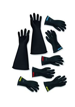 """Chicago Protective Apparel LRIG-2-14 Class 2 14"""" Insulating Rubber Gloves - Yellow/Black"""