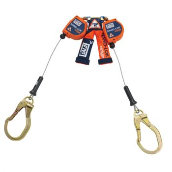 3M™ DBI-SALA® Nano-Lok™ edge Twin-Leg Quick Connect Self Retracting Lifeline - Cable 3500227, Orange, 8 ft. (2.4 m)