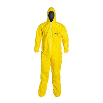 DuPont™ Tychem® 2000 QC122S YL QC Coveralls Hood Boots Elastic Wrists Serged Seams Yellow (12/Case)