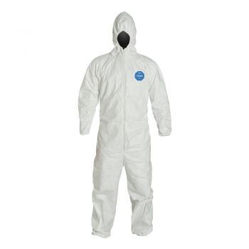 DuPont Tyvek TY127S Coveralls, Respirator Fit Hood with Elastic Wrists and Ankles
