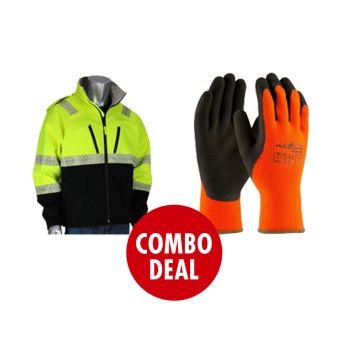 COMBO DEAL  PIP Hi VIS Bomber Jacket  Yellow + 12 Pairs of PIP PowerGrab Thermo Hi Viz Winter Gloves