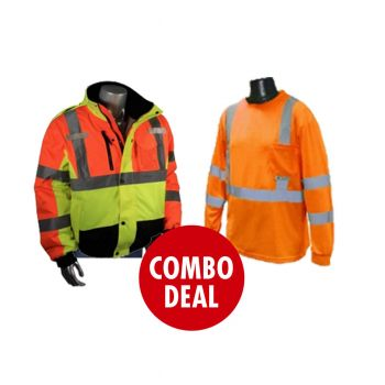 COMBO DEAL - Radians Radwear Jacket Class 3 Weather Proof Bomber Jacket with a Quilted Liner + Radians Class 3 Moisture Wicking Long Sleeve Shirt