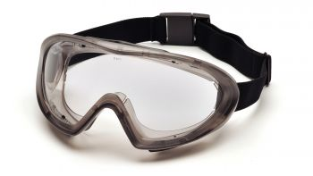 Pyramex  Capstone  Direct/Indirect Gray Frame/Clear Anti Fog Dual Lens Polycarbonate Safety Glasses  12 / BX