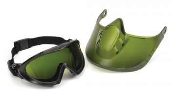 Pyramex  Capstone  Direct/Indirect Goggle  IR3 Lens and Green Tinted Faceshield Attachment Polycarbonate Safety Glasses  1 / EA