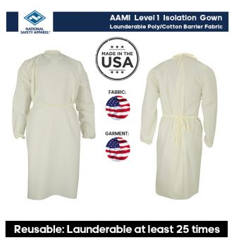 NSA Reusable Isolation Gown, AAMI Level 1 (3 Pack)