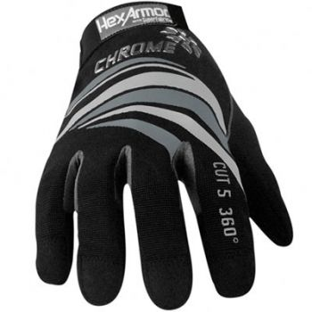 HexArmor Cut 5 360° Chrome Series 4023 Work Gloves Color Black 1 Pair