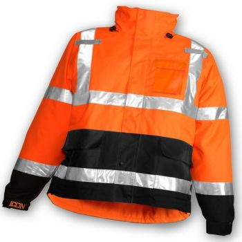 Icon Jacket -Fluorescent Orange-Red-Black Attached Hood Silver Reflective Tape