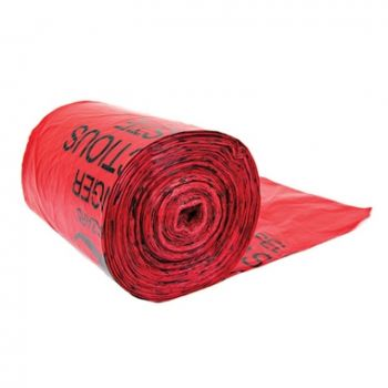 Justrite 05901 Red Biohazard Waste Can Liners, 100 Bags