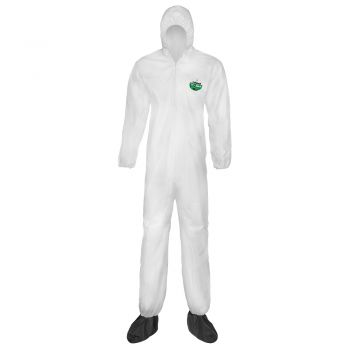 Lakeland CTL414 MicroMax NS Coverall with Attached Boots and Hood, Elastic Wrists, Zipper Closure, White, Case of 25