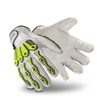 HexArmor Leather Impact 4080 Work Gloves White Color - 1 Pair