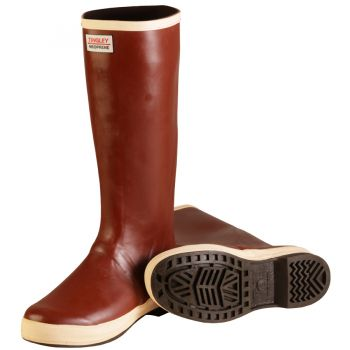 Tingley Neoprene Snugleg Boot Brick Red Upper Brown Sole Ht. 16 in Plain Toe Chevron Outsole
