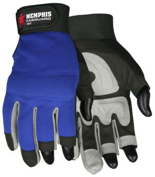 MCR Safety Multi Task Three Fingerless 902 Multi Task Gloves Blue  1 Pair