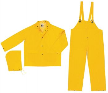 MCR FR2003 Classic, .35mm PVC/Polyester 3 pc suit,Snap Jacket & Bib Pant, Limited Flammability, Yellow