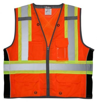MCR SURVCS2O Safety Vest, ANSI Class 2 & CSA Z96 Compliant Mesh Orange