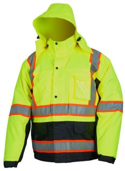 MCR Vortex VT38JH Rain Jacket, Double Insulated, Detachable Hood, Removable Liner, Class 3 Hi Viz