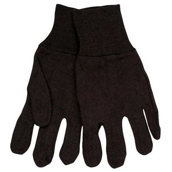 Brown Jersey Reversible Glove-Ladies 12 Pairs