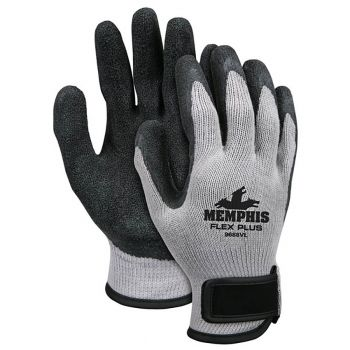 MCR FlexPlus Black Latex Coated Glove-Large  Gray Color 12 Pairs