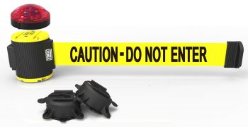 """Banner Stakes MH5002L 30' Magnetic Wall Mount Barrier with Light Kit - """"Caution - Do Not Enter"""" Banner"""