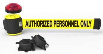 """Banner Stakes MH5003L 30' Magnetic Wall Mount Barrier with Light Kit - """"Authorized Personnel Only"""" Banner"""