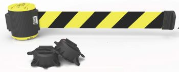 Banner Stakes MH5007 30' Magnetic Wall Mount Barrier, Black/Yellow Stripe