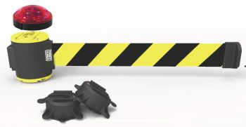 Banner Stakes MH5007L 30' Magnetic Wall Mount Barrier with Light Kit -Yellow/Black Diagonal Stripe Banner