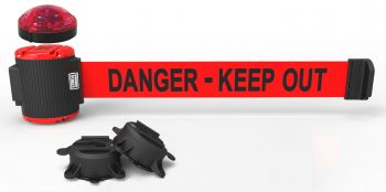 """Banner Stakes MH5009L 30' Magnetic Wall Mount Barrier with Light Kit - """"Danger-Keep Out"""" Banner"""