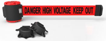 Banner Stakes MH5010 30' Magnetic Wall Mount Barrier, Danger High Voltage Keep Out
