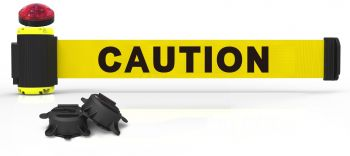 "Banner Stakes MH7001L 7' Magnetic Wall Mount Barrier with Light Kit - ""Caution"" Banner"