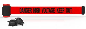 Banner Stakes MH7009 7' Magnetic Wall Mount Barrier, Danger High Voltage Keep Out