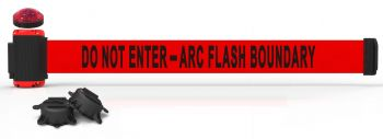 """Banner Stakes MH7010L 7' Magnetic Wall Mount Barrier with Light Kit - """"Do Not Enter - Arc Flash Boundary"""" Banner"""