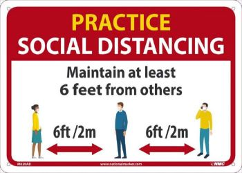 NMC M620 Practice Social Distancing Sign, Red