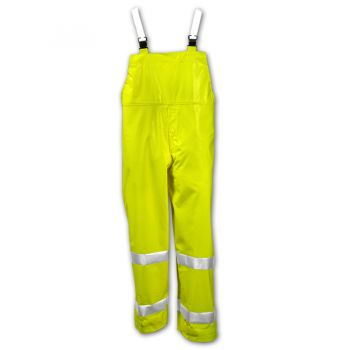 Tingley 53122 Comfort-Brite Overall Fluorescent Yellow-Green Snap Fly Front Silver Reflective Tape