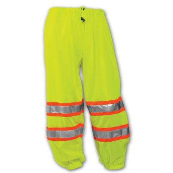 Tingley Class E Pants Fluorescent Yellow-Green Polyester Mesh 2 Side Pass Through Openings 1 Exterior Pocket Two-Tone Silver Reflective Tape