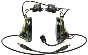 Peltor ComTac III ARC Headset, Dual Comm, Accessory Rail Connector - OLIVE DRAB GREEN
