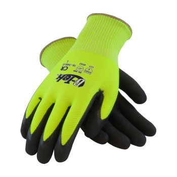 G Tek CR Hi Vis Seamless Knit HPPE / Glass Glove  Double Dipped Nitrile Coated Micro Surface Grip