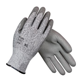 G-Tek CR Seamless Knit HPPE Glove with Polyurethane Coated Smooth Grip on Palm & Fingers