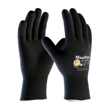 PIP ATG 34-8745 MaxiFlex Endurance Gloves - Dotted Palms - Full Coat Nitrile Micro-Foam - Black Color (1 PR)