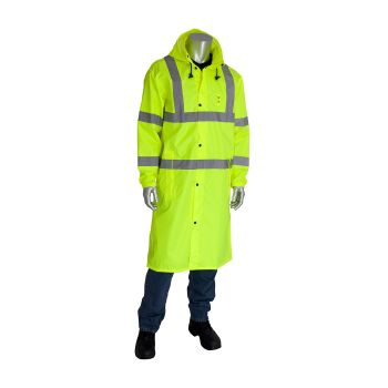 "PIP 353-1048-LY Rain Coat, 48"" All Purpose Class 3 Hi Viz"