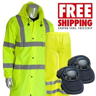 "TRIPLE COMBO DEALS - PIP ANSI Class 3 48"" Raincoat + Radians Class E Radwear Pants + Allegro MaxKnee Pad"