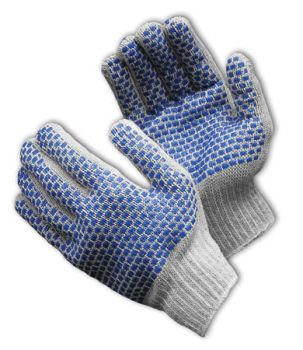 PIP 37-C500BB-BL Seamless Knit with Double-Sided PVC Brick Pattern Glove - 7 Gauge (LARGE)