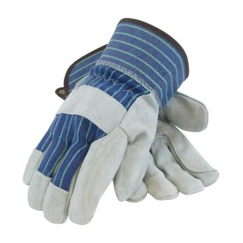 """A/B"" Grade Shoulder Split Leather Double Palm Glove - Rubberized Safety Cuff"