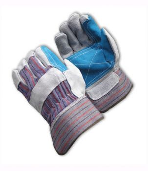"""""""B/C"""" Grade Leather Double Palm with Jointed Inner Palm - Rubberized Safety Cuff (LARGE) 12/Pairs"""