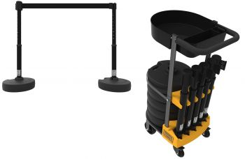 Banner Stakes PL4000-BT PLUS Cart Package with Tray, Blank Black Banner