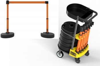 Banner Stakes PL4000-OT PLUS Cart Package with Tray, Blank Orange Banner