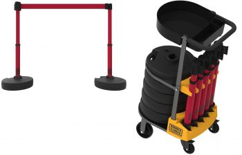 Banner Stakes PL4000-RT PLUS Cart Package with Tray, Blank Red Banner