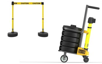 """Banner Stakes PL4001 PLUS Cart Package, Yellow """"Caution"""" Banner"""