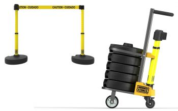 "Banner Stakes PL4002 PLUS Cart Package, Yellow ""Caution-Cuidado"" Banner"