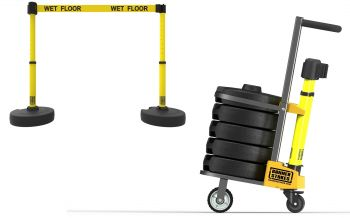 """Banner Stakes PL4003 PLUS Cart Package, Yellow """"Wet Floor"""" Banner"""